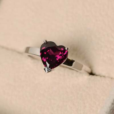 14K White Gold Over 1.1CT Heart Cut Ruby Engagement Wedding Ring • 89.99£