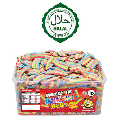 Sweetzone Rainbow Belts Tub Sweets Candy  Favours 100% Halal Hmc Gay Pride • 10.99£