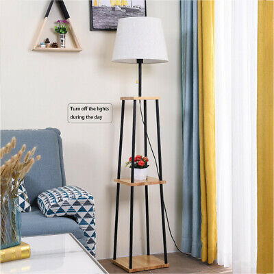 AU140.31 • Buy Tripod Floor Lamp W/ 3-Tier Shelves Foot Switch E27 Lampshade Base Functional