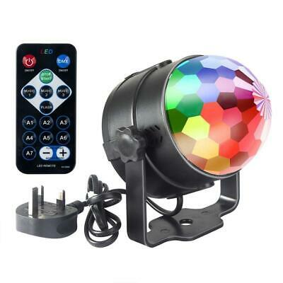 £15.90 • Buy Mini Disco 3W LED RGB Sound Actived Crystal Rotating Glitter Ball Lights Effect