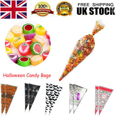 100pcs Candy Cone Bag Party Popcorn Ice Cream Biscuits Storage Plastic Pouch • 5.99£