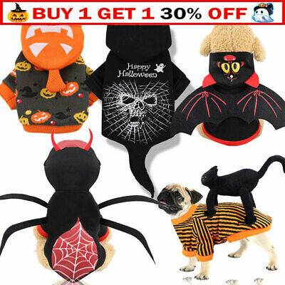 £7.55 • Buy Halloween Pet Costume Dogs Cat Spooky Party Fancy Dress Outfit Sweater Jumpsuit