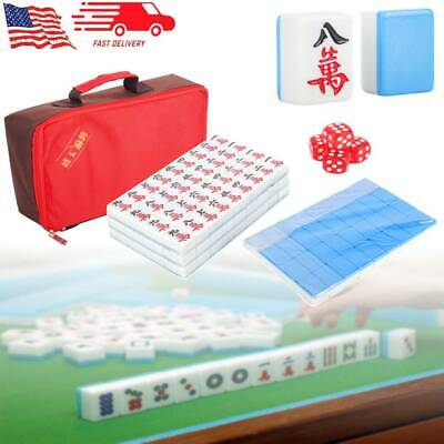 $40.49 • Buy Chinese 144 Tiles Mah-Jong Set  Blue Game Set With Carry Bag Gift Family Game US