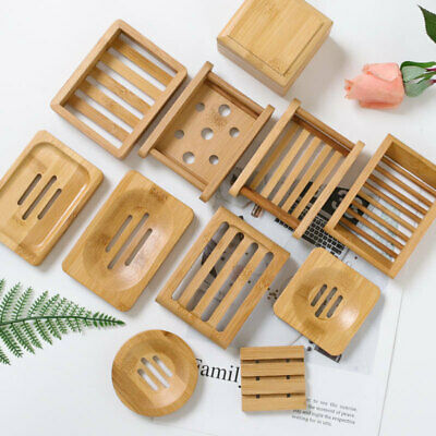 Bamboo Wooden Square Round Soap Dish Tray Holder Mould Proof Rack Drain Box • 5.51£