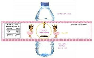 PERSONALISED BAPTISM CHRISTENING WATER BOTTLE LABELS. PARTY FAVOURS ( X 5) • 2.80£