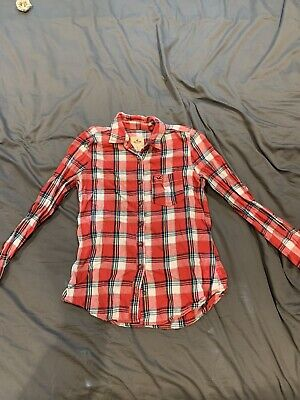 Womens Hollister Red Checked Gingham Shirt Size Small • 2.90£