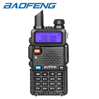 BAOFENG UV-5R Dual-Band 2 Way FM Radio VHF UHF Walkie Talkies Interphone Black • 18.95£
