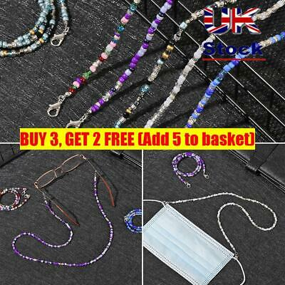 Face Mask Lanyards Reading Glasses Chain Neck Straps Acrylic Beaded Chain • 3.20£