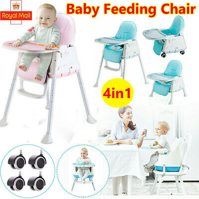 4 In 1 Baby Kids Toddler Infant High Chair Feeding Seat Chair Foldable Highchair • 39.42£