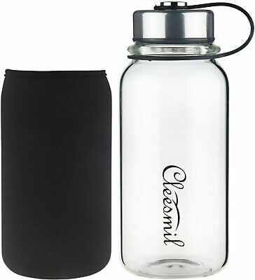 CLEESMIL Sports Glass Water Bottle Clear With Black Sleeve 600ml - Unit 9 Z03 • 4.99£