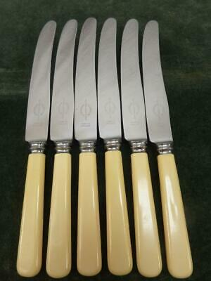 6 Vintage Viners Of Sheffield Dinner Table Knives Ivory Coloured Resin Handle • 19.99£