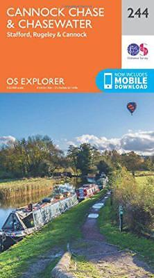 OS Explorer Map (244) Cannock Chase By Ordnance Survey, NEW Book, FREE & FAST De • 7.51£