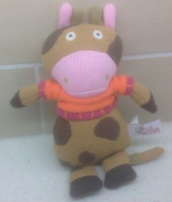 Latitude Enfant Mona The Brown Cow Grannimals Knitted Soft Toy  The Wooly Family • 3.95£