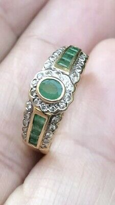 Antique Style 18ct Solid Yellow Gold 32 Diamonds With 9 Colombian Emerald Ring • 1,395£