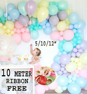 Macaron Pastel Balloons Rainbow Ballons Birthday Baby Shower Party Decoration • 3.99£