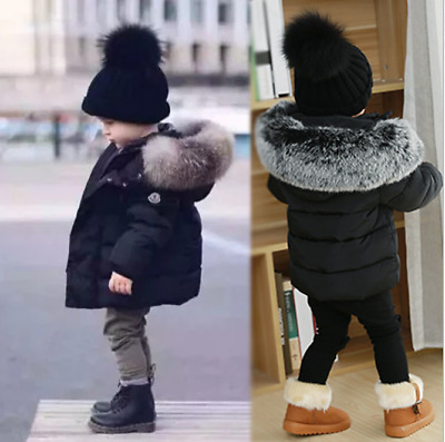 Winter Warm Coat Kids Girls Boys Parka Coats Outwear Hooded Down Jacket Coats UK • 17.99£