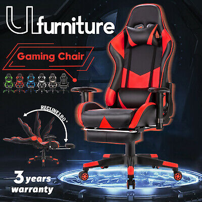 AU169.90 • Buy Gaming Chair Executive Office Computer Chairs Seating Racer Recliner W/Footrest