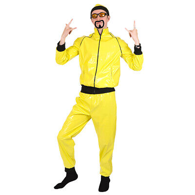 £23.99 • Buy Adults 90's Rapper Costume Yellow Tracksuit Mens Gangster 1990's Fancy Dress