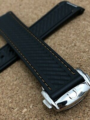Omega Seamaster Aqua Terra 20mm Rubber Deployment Watch Strap Band Black Mens • 43.99£