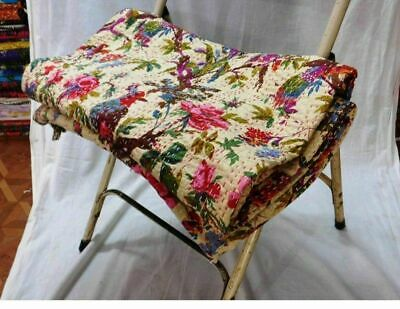 Indian Reversible Beige Birds Print Kantha Quilt Single Blanket Throw Decor Art  • 19.99£
