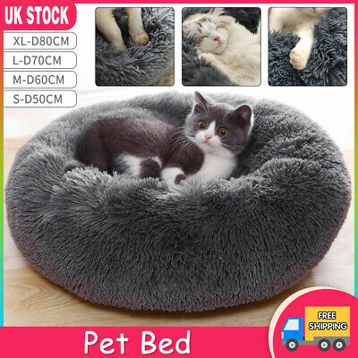 Pet Dog Cat Calming Beds Comfy Shag Warm Fluffy Bed Nest S M L XL Fur Donut Pad • 14.99£