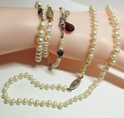 $ CDN58.22 • Buy 4 Piece Lot Sterling Silver Genuine Cultured Knotted Pearl Necklace Bracelets