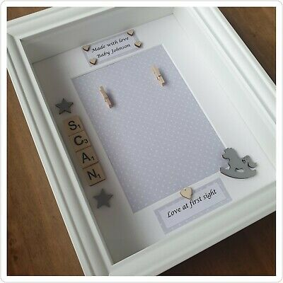Personalised. Grey Polka Dot Baby Scan 3d Box Frame. Made With Love. Add Scan... • 25.99£