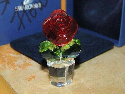$74.99 • Buy Authentic Beautiful Swarovski Crystal 1.75  Potted Red Rose 855896 Happy Flowers