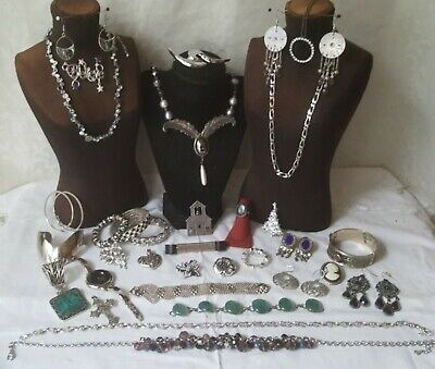 $ CDN31.33 • Buy Vintage Silver Pl Jewelry Lot Monet Necklaces Earrings Pin Bracelets Lia Sophia