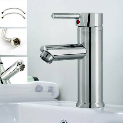 Modern Bathroom Taps Basin Sink Mono Mixer Chrome Cloakroom Tap With 2 Hoses UK • 15.09£