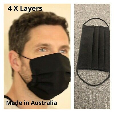 AU7 • Buy WASHABLE BLACK HANDMADE Reusable FACE Masks 4 X Layers Soft Elastic AUS Made