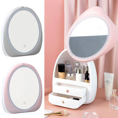 LED Make Up Mirror Storage Box Cosmetic Holder Organiser Case Shelf Rechargeable • 22.95£