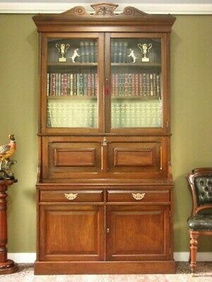 AU1750 • Buy Antique Walnut 2 Height Secretaire Bookcase ~ Writing Desk, Storage Cabinet 1890
