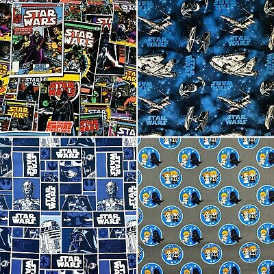 £5.94 • Buy Star Wars Printed Licensed Fabric 100% Cotton Craft Sheet Material 110cm Wide