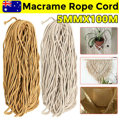 AU11.39 • Buy 5mm Natural Cotton Macrame Cord Rope String Twisted Beige Hand Craft Artisan 100