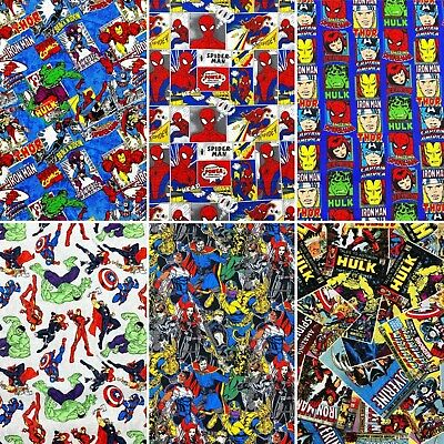 Marvel Comic Licensed Printed Fabric 100% Cotton Sheet Craft Material 110cm Wide • 3.94£