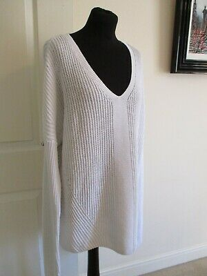 WOMEN's Size XL THE WHITE COMPANY COTTON KNIT JUMPER V NECK SLOUCHY PULLOVER XL- • 10.50£