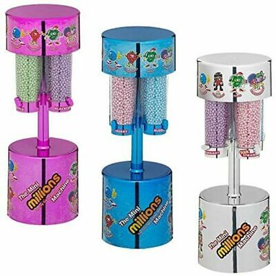 MILLIONS LARGE SWEET DISPENSER MACHINE WITH 8 X 16g BAGS BLUE / PINK / SILVER • 20.49£