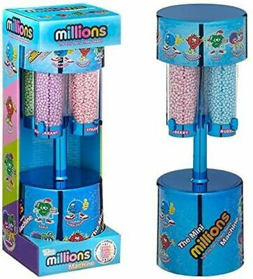 MILLIONS LARGE SWEET DISPENSER MACHINE BLUE & 8 X 16g BAGS OF MILLIONS SWEETS • 24.90£
