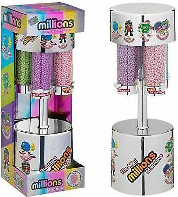 MILLIONS LARGE SWEET DISPENSER MACHINE SILVER & 8 X 16g BAGS OF MILLIONS SWEETS • 24.90£