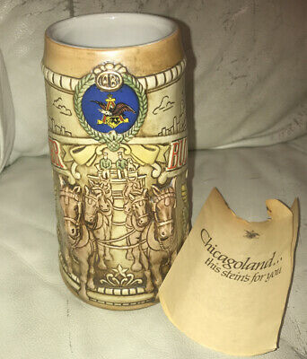 $ CDN18.28 • Buy Budweiser Vtg 1980 Chicagoland  Chicago Skyline Beer Stein Mug Ceramarte New ?