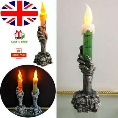 LED Skeleton Hand Lamp Candle Flame Light Stand Lamp Halloween Party Decoration  • 1.99£