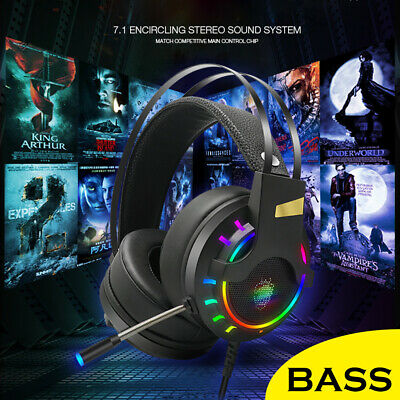 AU25.64 • Buy Gaming Headset USB Wired Over LED Headphones Stereo With Mic For Xbox One/PS4 PC