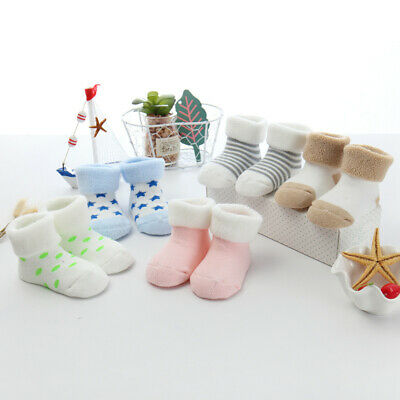 5 Pairs Cotton Slipper Cartoon Soft Warm Shoes Boots Newborn Baby Toddler Socks • 5.99£