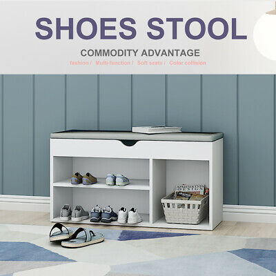 Shoe Bench Shoe Storage Rack Wooden Shoe Cabinet With Seat Cushion Hallway Bench • 40.99£