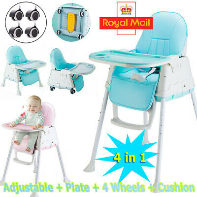 3 In 1 Baby Highchair Toddler Infant Kids Feeding Tray Adjustable High Chair UK • 31.94£