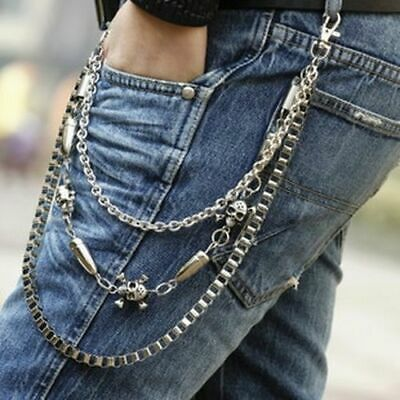 Skull OX Horn Bullet Wallet Biker Trucker Chains Punk Rock Simple Jean Key Chain • 10.49£
