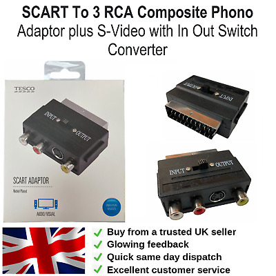 SCART To 3 RCA Composite Phono Adaptor Plus S-Video With In Out Switch Converter • 3.45£
