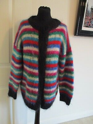 HAND KNITTED STRIPED MOHAIR CARDIGAN WOMEN's Size M/L SLOUCHY BOHO GRUNGE FOLK- • 15£
