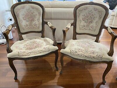 AU300 • Buy Brown Antique Wooden Chairs, Floral, Used